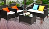 Patio Garden Rattan Furniture Set with Coffee Table and Sofas (4-Pc.)