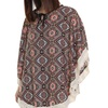 Fringed Circle Cape Poncho with Strings