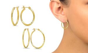 High-Polish Hoop Earrings in 14K Gold Bonded by Moricci