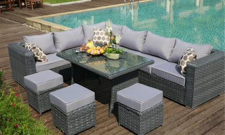 2 off nine seater outdoor dining set groupon for Best deals on patio furniture sets