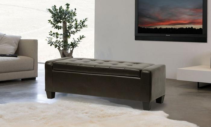 Ricardo Bonded Leather Storage-Bench Ottoman ... & Leather Storage-Bench Ottoman | Groupon Goods