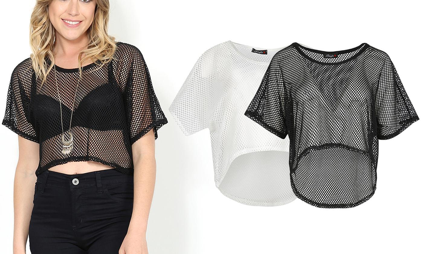 Oops Women's Mesh Net High-Low Baggy Crop Top