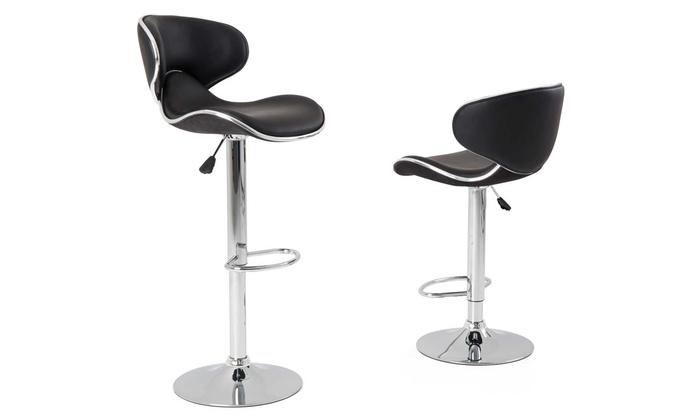 lot de 2 tabourets de bar wave m moire de forme groupon. Black Bedroom Furniture Sets. Home Design Ideas