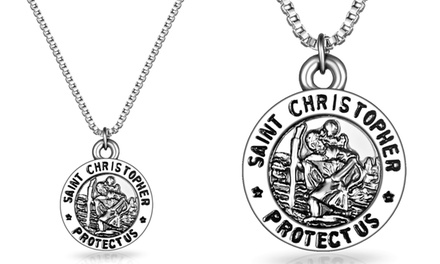 St. Christopher 18ct White Gold Plated Necklace from £4.99 (Up to 87% Off)