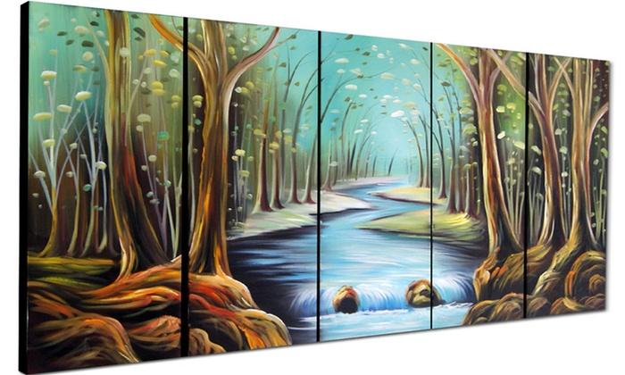 Nature Multi Panel Textured Oil Painting On Canvas