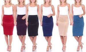 Stretch Midi Pencil Skirt