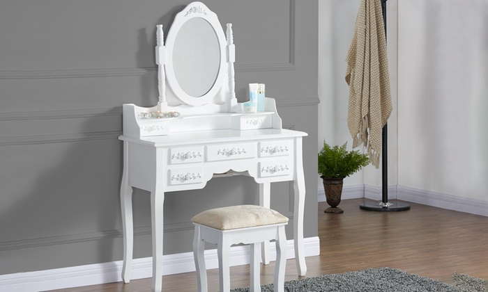 Olivia Seven-Drawer Antique-Style Dressing Table Sets from £109.99