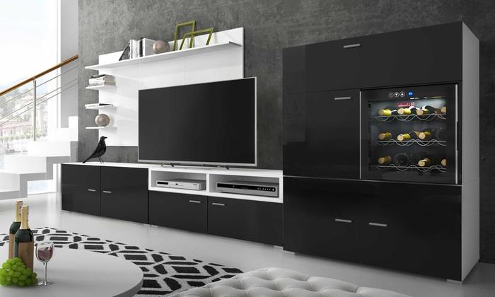 armoire murale avec cave vin groupon. Black Bedroom Furniture Sets. Home Design Ideas