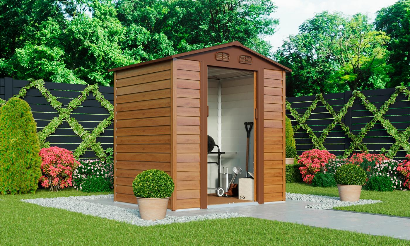 Waltons Wood-Effect Apex Metal Shed with Foundation Kit