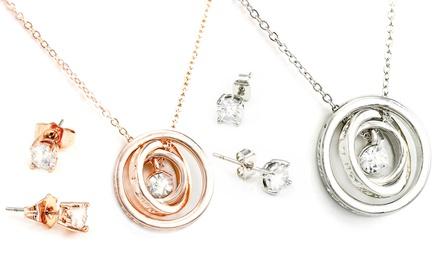 Set van Celestial ketting en oorbellen versierd met Swarovskikristallen, verkrijgbaar in verschillende kleuren