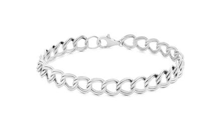 Solid Italian Charm Bracelet in Sterling Silver