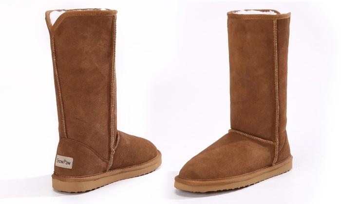 Suédé Fourrées Cuir Boots Shopping Groupon Femme qUE7BS1x