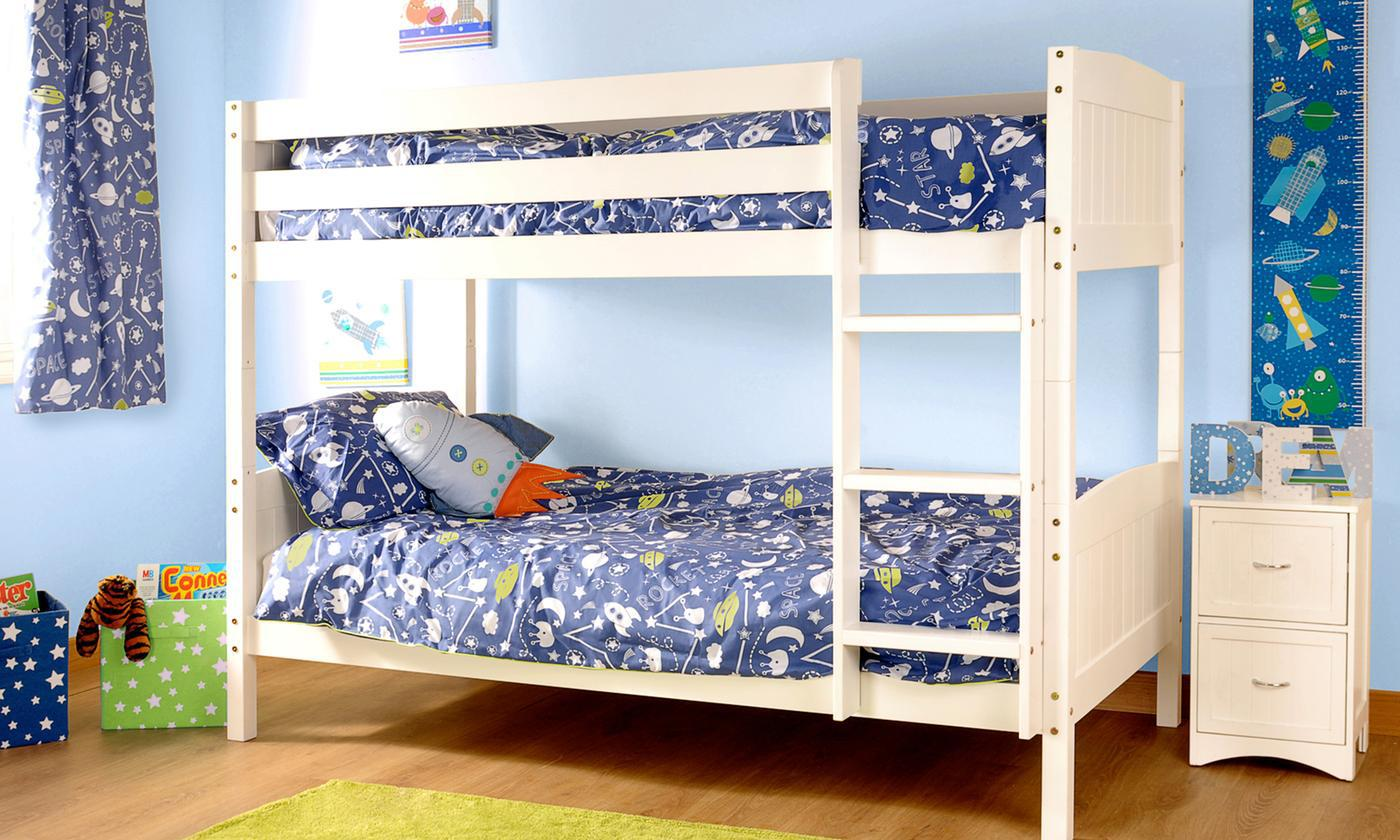 Pine Bunk Bed Frame with Two Optional Mattresses from £179 (57% OFF)
