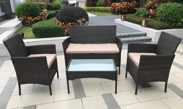 Surprising Four Piece Pe Rattan Garden Furniture Set Home Interior And Landscaping Ologienasavecom