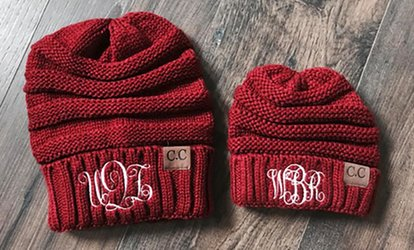 image for One, Two, Three, Five, or 10 Personalized Embroidered Beanies for Adults or Kids from Qualtry (Up to 80% Off)