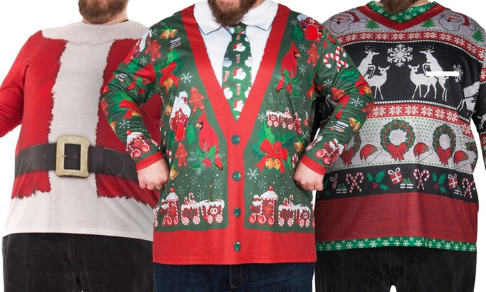 Faux Real Men's Extended-Size Ugly Holiday Shirts (1X–4X)
