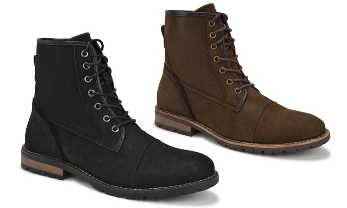 Jachs Men's Dylan Leather and Canvas Boots