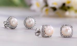 Nina & Grace Pearl & CZ Halo Stud Earrings in Sterling Silver