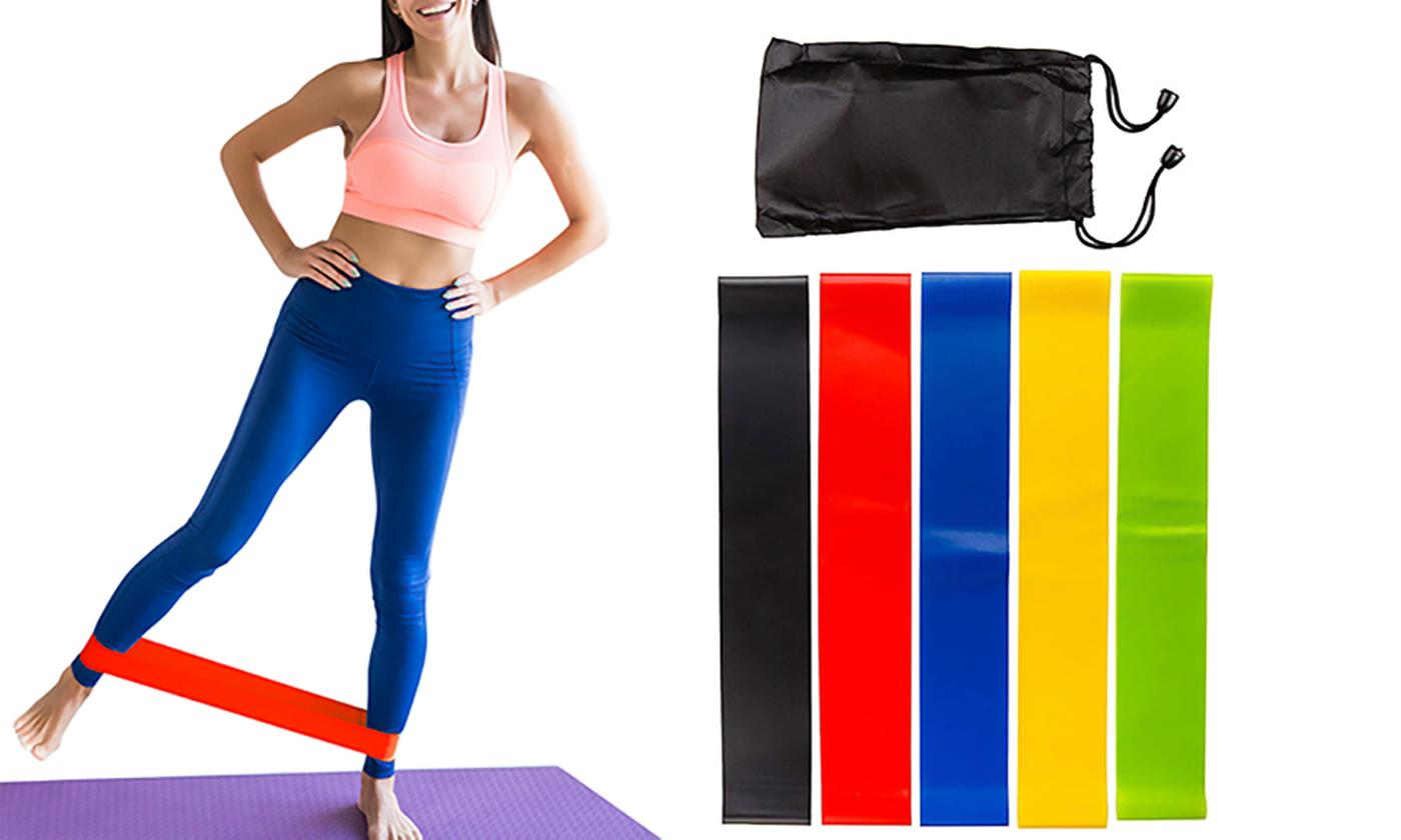 Five Resistance Bands with Carrying Bag