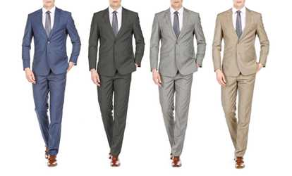 Groupon Gino Vitale Men S Slim Fit Sharkskin Suits 2 Piece