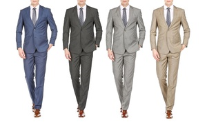Gino Vitale Men's Slim Fit Sharkskin Suits (2-Piece)