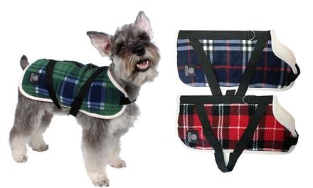 Fleece Plaid Dog Harness Coat