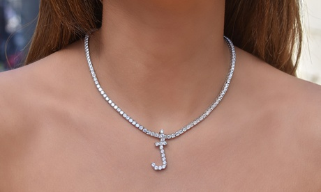 62.00 CTTW Cubic Zirconia Prong Initial Tennis Necklaces by Elements of Love