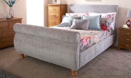sleigh bed frame in fabric