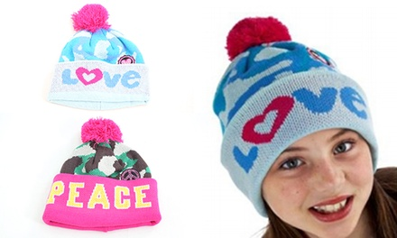 One or Two Children's Army Print Bobble Hats