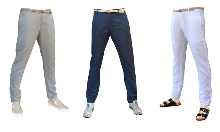 l'ultimo d4be5 ef05e Pantaloni uomo in lino Slim Fit | Groupon Goods