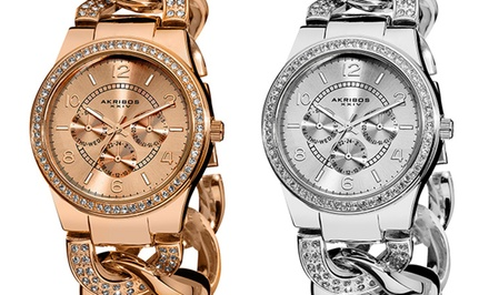 Akribos XXIV Women's Quartz, Multifunction, Crystal-Accented Watch. Multiple Colors Available.