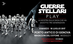 """Guerre Stellari - Play, Magazzini del Cotone Genova: Ingresso open alla mostra """"Guerre Stellari - Play"""" fino al 16 luglio ai Magazzini del Cotone di Genova (sconto 39%)"""