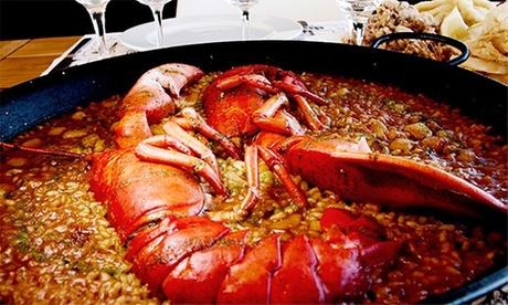 Menú de arroz con bogavante para 2 o 4 personas con aperitivo de bienvenida, postre o café y botella de vino