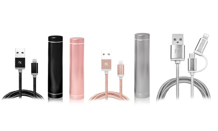 FX Power Bank in Choice of Capacity and Colour with Optional Braided Charging Cable for iPhone