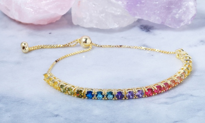 513250dc4dbe Rainbow Crystal Adjustable Bolo Bracelet by Elements of Love