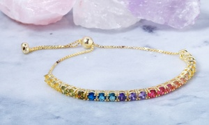 Rainbow Crystal Adjustable Bolo Bracelet by Elements of Love