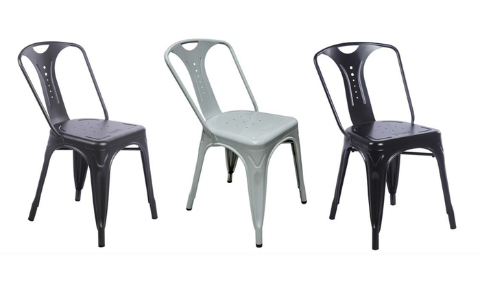 Chaises r tro m tallique groupon shopping for Chaise zons
