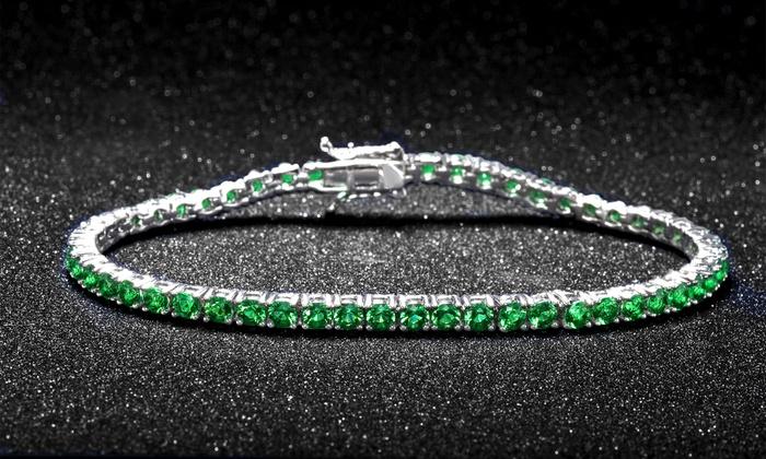 Lab Created Emerald Tennis Bracelet In 18k White Gold