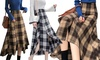 Asymmetrical Hem Plaid Wool-Blend Skirt