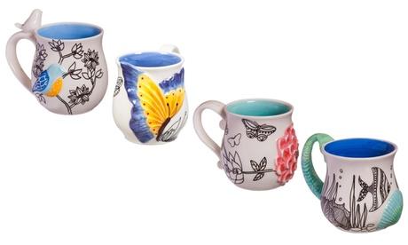 Hand-Painted Sculpted Ceramic Cup (14 Oz.) 766464fa-aeb5-40f1-9b61-9a398e9a6044