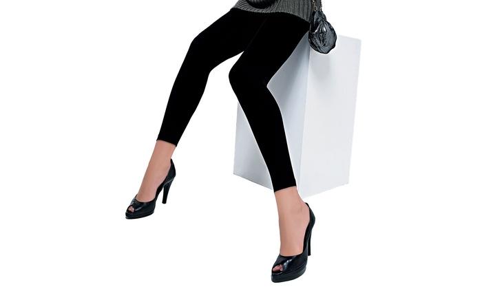 Women's Junior Classic Black Cotton Leggings (6-Pack)