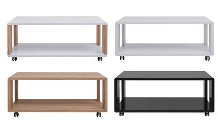 Mesa de centro de madera con 4 ruedas disponible en 4 modelos