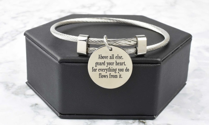 A Sister Pink Box Solid Stainless Steel Inspirational Cable Bangle Silver
