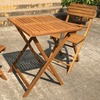 Wooden Outdoor Bistro Table and Chairs Set (3-Piece)