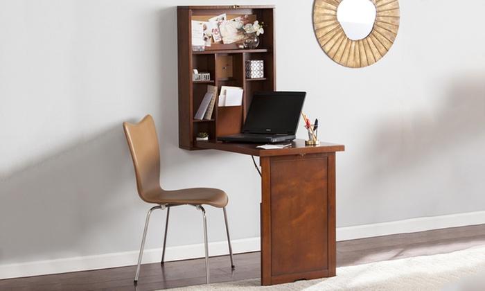 wall mounted fold down wood desk livingsocial. Black Bedroom Furniture Sets. Home Design Ideas