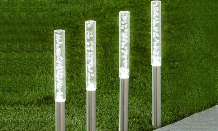 Balizas solares led de cristal groupon goods for Balizas solares para jardin