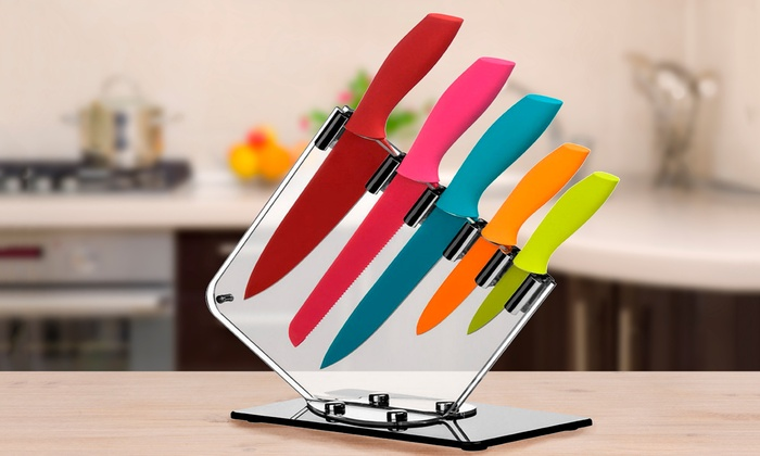 5 Piece Rainbow Knife Block Set