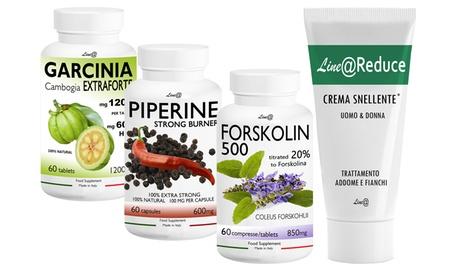Set de 180 comprimidos para perder peso compuesto por garcinia, forskolin, piperine y una crema reductora