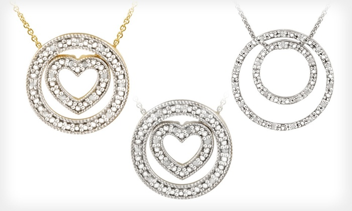 Circle Diamond Pendant Necklaces: Circle Diamond Pendant Necklaces (Up to 79% Off). Six Styles Available. Free Shipping.
