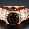 Smokey Topaz Engagement Ring in 18K Rose Gold Plating By Gembassy
